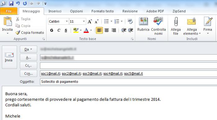 Michele Angeletti - Nascondere i destinatari di un'email